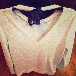 Super soft open back with tie scoop neck sweater